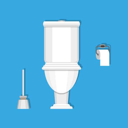 toilet brush: White ceramics toilet, toilet paper and toilet brush. modern toilet set in flat style. Illustration