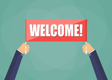 data entry: Human hands holding red plate with word Welcome, vector in flat style on green backgroundillustration