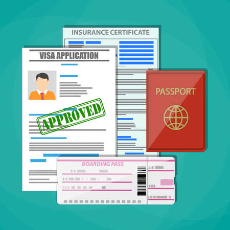 International passport, approved visa application, insurance certificate and boarding pass ticket. Travel concept. Vector illustration in flat style on green background