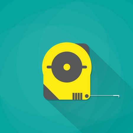 yellow industrial measure tape icon with long shadow, vector illustration in flat style on green background Illustration