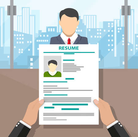 recruiters: Recruiters hands holding cv and candidate in office. Human resources management concept, searching professional staff. vector illustration in flat design, cityscape background