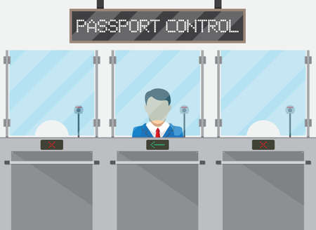 Border control concept, immigration officer, camera, passport control sign. vecctor illustration in flat style Vectores