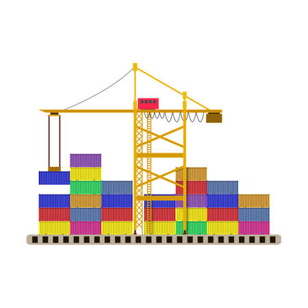 cargo port container crane and colorful containers isolated on white. vector illustration in flat style