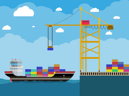 sea freight: River ocean and sea freight shipping by water. cargo ship and container crane. Background with blue sky and clouds. vector illustration in flat style