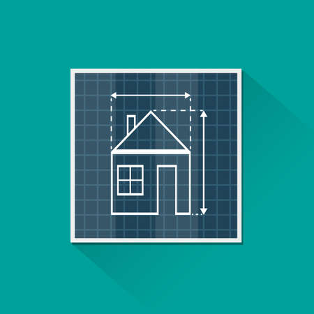housing plan: Paper house plan with dimension lines. blueprint drawing in shape of house sign. Architecture, building, real estate, construction, housing. vector illustration in flat style on green background