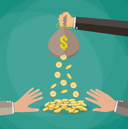 losing money: Cartoon businessman hand holding money bag and losing golden coins that poured out from a hole in the bag, other hands trying to steal fallen money. vector illustration in flat style, green background