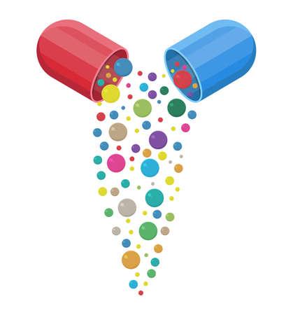 capsula farmaceutica con vitamine e minerali all'interno, pillola e cura sano, sanità.