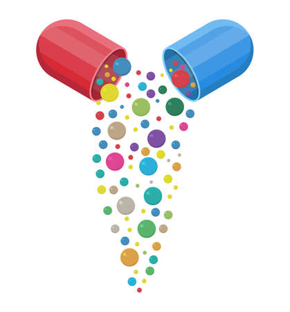 capsule pharmaceutical with vitamins and minerals inside, Pill and care healthy, healthcare.