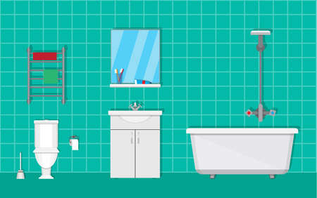 washbowl: Bathroom with furniture. Washbowl with mirror, bathtub, towel dryer. toilet, paper and brush. vector illustration in flat style on green background
