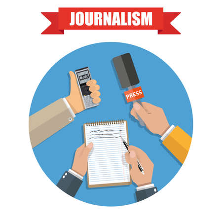 hands holding voice recorder, microphone and spiral notebook with pen in circle. Mass media and press conference concept. journalism icon. vector illustration in flat style on green background Illustration