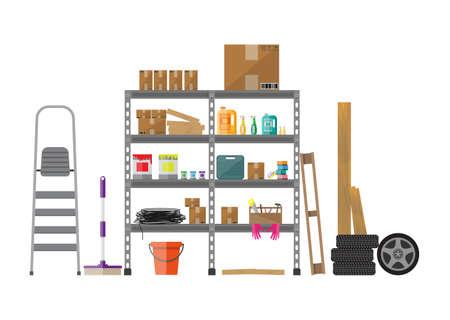 Inter Abstellraum mit Metallregalen, Lagerung, Boxen, Treppe, Räder, Reinigungszubehör getrennt auf Weiß. Wohnung Stil