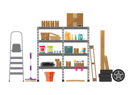 storage: Interior of storeroom with metal shelves, storage, boxes, stair, wheels, cleaning accessories isolated on white. flat style Illustration
