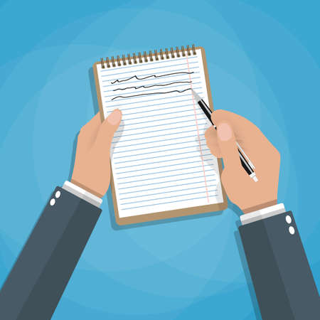 organize: Hand holding notebook and pen. Concept of organize and planning. vector illustration in flat style on blue background