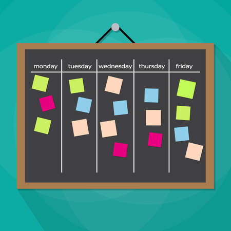 work task: Scrum task board hanging on wall full of tasks on sticky note cards. Development, team work, agenda, to do list. vector illustration in flat style on green background with long shadow