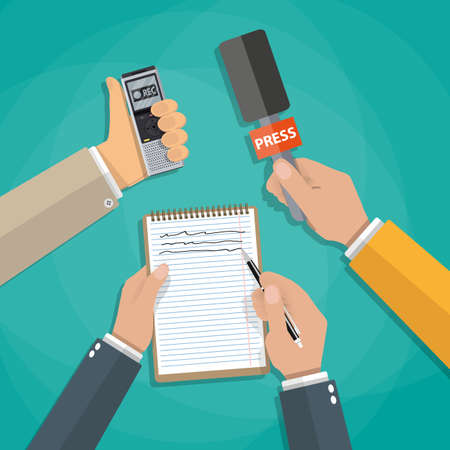 voice recorder: hands holding voice recorder, microphone and spiral notebook with pen. Mass media and press conference concept. journalism. vector illustration in flat style on green background