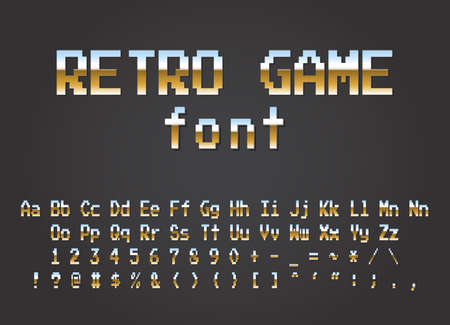 Pixel retro font Video computer game design 8 bit letters and numbers Electronic futuristic style. vector illustration