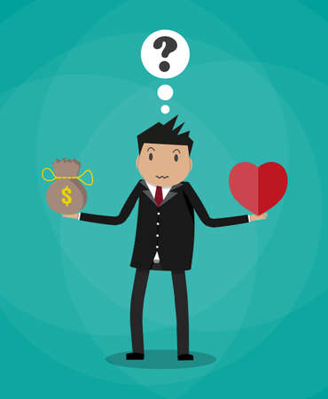 Businessman balance Work and life. heart shape, money pouch. vector illustration in flat style on green background Illustration