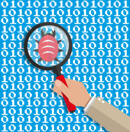 hand with magnifying glass scanning digital software code for bugs. software testing quality control. antivirus soft. vector illustration in flat style