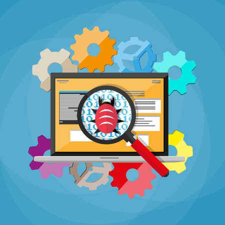 debugging: bug and virus in the programming code, notebook with developers applications, magnifying glass, gears. software testing quality control. vector illustration in flat style on blue background