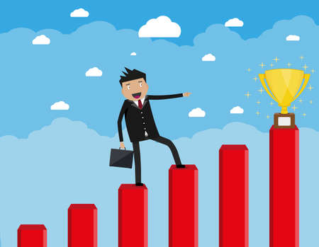 Cartoon happy businessman with breafcase standing on a graph soaring through the clouds and pointing his finger at golden trophy cup, Business Growth Concept. vector illustration in flat design. Illustration