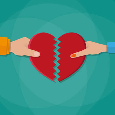 Hand of a man and woman tearing apart heart symbol. vector illustration in flat style on green background Illustration