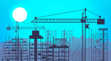 skyscraper sky: Construction site with buildings and cranes. skyscraper under construction. vector illustration on blue sky background with sun Stock Photo