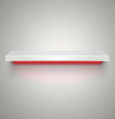 shelve: Empty white plastic illuminated by neon red light shelve with shadows on grey light background. vector illustration Stock Photo