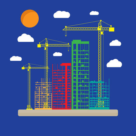 Construction site icon with buildings and cranes. skyscraper under construction. vector illustration on blue background with clouds Stock Photo