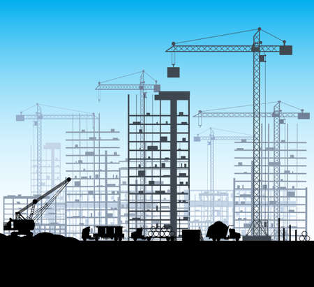 tipper: Construction site with buildings and cranes. skyscraper under construction. excavator, dump truck, tipper. vector illustration silhouette and blue sky