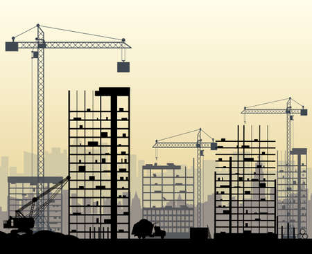 skyscraper sky: Construction site with buildings and cranes. skyscraper under construction. excavator, dump truck, tipper. vector illustration, foggy sky and cityscape silhouette