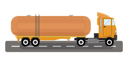 heavy fuel: heavy oil fuel chemical tank truck. vector illustration in flat style on white background