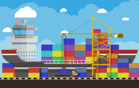 transportation facilities: River ocean and sea freight shipping by water. crane unloads a cargo ship. containet truck. Background with blue sky and clouds. sea port logistics and delivery. vector illustration in flat style Illustration