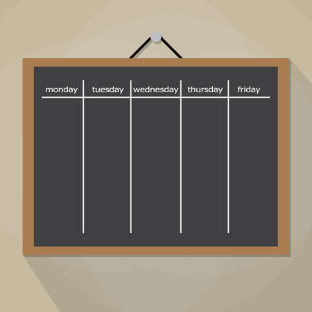 work task: Scrum task board hanging on wall. Development, team work, agenda, to do list. vector illustration in flat style on brow background with long shadow Illustration
