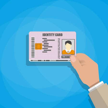 hand houden van de ID-kaart. vector illustratie in vlakke stijl op een blauwe achtergrond