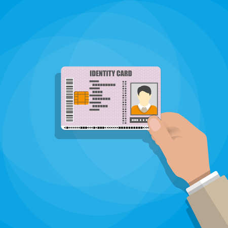 mano que sostiene la tarjeta de identificación. ilustración vectorial en estilo plano sobre fondo azul