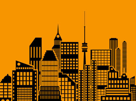 residental: Modern City View. Cityscape with office and residental buildings, television tower, orange and black color. vector illustration in flat style