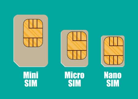 prepaid: Modern sim card sizes, mini, micro, nano. Vector illustration in flat style on green background
