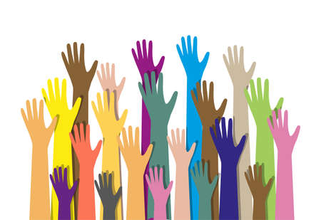 cultural diversity: Group of hands of different colors. cultural and ethnic diversity. vector illustration in flat style on white background