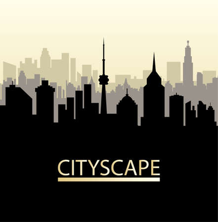 residental: Modern City View. Cityscape with office and residental buildings, television tower, vector illustration in flat style Illustration