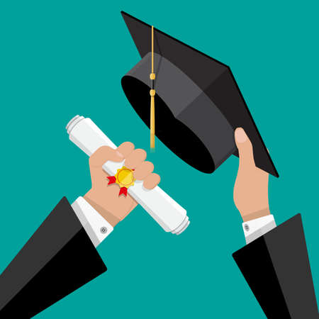 Concept of education. Graduation hat and diploma with stamp and ribbon in hands of student. vector illustration in flat style on green background Stock Photo