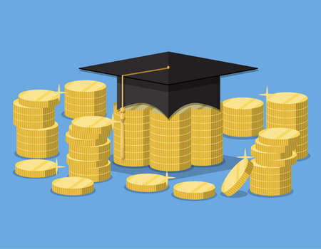 Graduation hat on stack of golden coins. investment in education concept. vector illustration in flat style on blue background