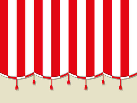 Red white theater circus curtain. vector illustration in flat style