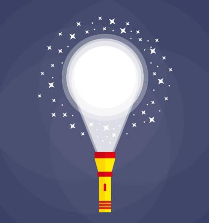 illuminating: Yellow red Flashlight at dark bkackground in darkness illuminating ground. Search, investigation concept. Flat style. vector illustration
