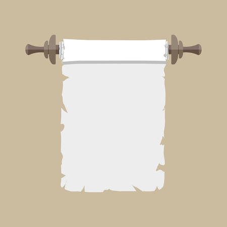 ancient paper: Ancient paper scroll with wooden handles. vector illustration in flat style isolated on brown background