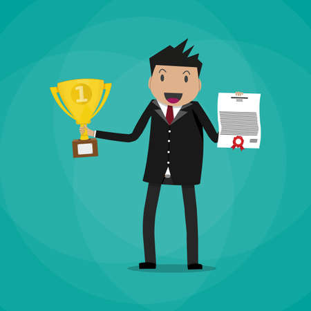 rewarded: Happy cartoon businessman winner holding certificate and gold trophy cup. vector illustration in flat design on green background