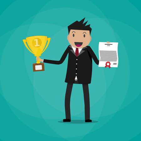 Happy Cartoon Geschäftsmann Gewinner holding Zertifikat und Gold-Cup-Trophäe. Vektor-Illustration in flaches Design auf grünem Hintergrund Vektorgrafik