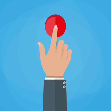 vector button: Hand touch red button. finger presses. Touch, push or press sign. vector illustration in flat design on blue background Stock Photo