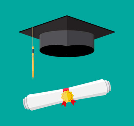 rolled paper: White rolled paper diploma scroll with yellow stamp, red ribbons and black graduation cap. Graduation concept. vector illustration in flat style on green background