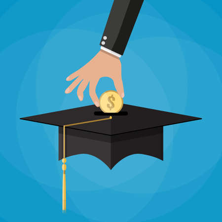 scholarship: hand put gold coin in graduation cap. education savings and investmet concept on blue backgound. vector illustration in flat design. Stock Photo
