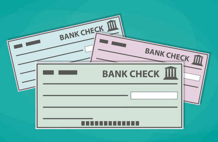 checking account: Empty blank bank checks isolated on green background. vector illustration in flat style Stock Photo